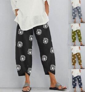UK Womens Summer Ladies Cotton Linen Baggy Casual Harem Pants Trousers Plus Size