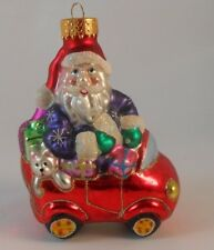 Xmas Blown Glass Ornament Santa with Presents in Red Car