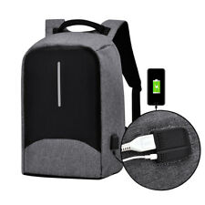 "15"" Anti-Theft Laptop Backpack Waterproof USB Charge Bag Travel School Men Gray"
