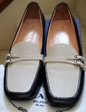 Two tone black & beige Prada leather shoes size 37 (7US) Italy w/dust bags