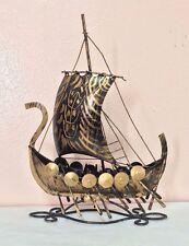 Vintage Metal Handmade Pirate Ship  Boat  Nice Patina
