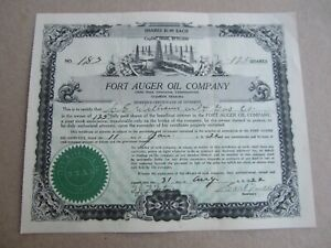 Old Vintage 1922 - FORT AUGER OIL Co. - Stock Certificate - GRANDFIELD OKLAHOMA