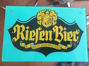 Glasschild Riesen Bier - Gebrüder Waldschmidt - Wetzlar - Hinterglasdruck 2109