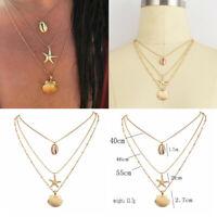 Bohemian Women Shell Cowrie Beach Sea Pendant Choker Gold Chain Necklace Jewelry