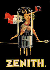 1920s Zenith Vacuum Tube Ad Poster 13 x 19 Giclee  print