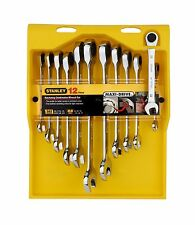 Stanley RATCHETING COMBINATION WRENCH SET AF & Metric Spanners, 12pcs *USA Brand