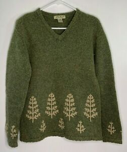 Eddie Bauer 100% Wool Women's Sweater Pullover Embroidery Green Size XS
