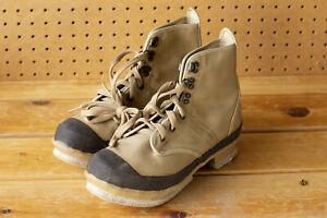Hodgman Lakestream Tan Canvas Upper Felt Sole Fishing Wading Boots - Size 9