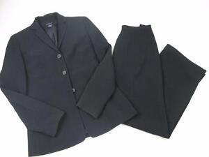 ANN TAYLOR 2 PC BLACK BLAZER COAT JACKET & PANTS PIN STRIPED SZ:2 NEW