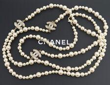 "CHANEL Pearl Chain Necklace 61"" Silver tone CC Logos w/BOX"