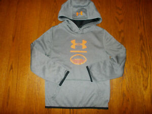 UNDER ARMOUR COLD GEAR GRAY HOODED FOOTBALL SWEATSHIRT BOYS SMALL EXCELLENT COND