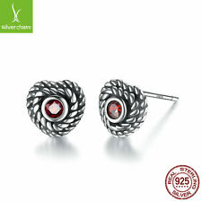 Authentic 925 Silver Women Retro Stud Earrings With Red Crystal Love Hearts 2017