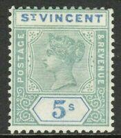 St Vincent 1899 green/blue 5/- crown CA perf 14 mint SG75