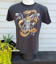 Harley Davidson 3d emblem Snake shirt Sz L 1989 single stitch Vintage 50/50