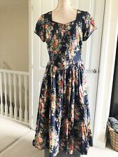 BNWT Marks And Spencer Vintage Dress Sz 14 Floral Teadress Midi Praire Peasant