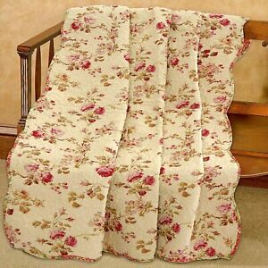 Vintage Floral Printed Reversible Cotton Quilted Throw