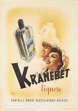 Affiche ancienne LIQUORE Liqueur KRANEBET Fratelli ski MONTAGNE année 50