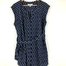 Motherhood Maternity Size XL Blue Shirt Geometric Cap Sleeve Tie Detail Tunic