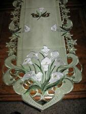 """Calla Lily Embroidered Lacy Table Runner Dresser Scarf Sage Green 68""""x 14"""""""