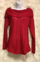 ND New Directions Women's Red Open Knit Sweater Foldover Neck Sz M - EUC