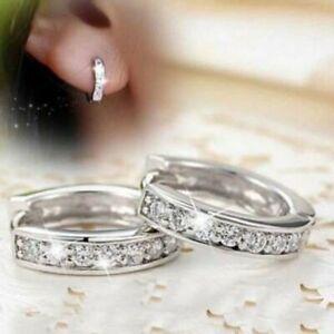 2021 Fashion 925 Silver Round Stud Earrings Hoop Women Wedding Party Jewelry Hot