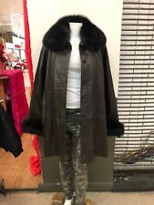 Knoles&Carter Swing Leather Coat with Fox Fur Collar
