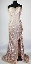 Women's Formal High slit All over Sequins Lace up Long Evening Gown prom dress