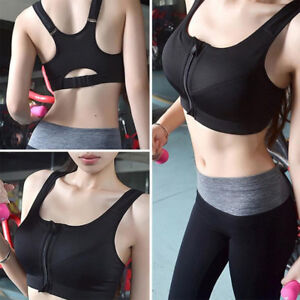 Women Padded Sports Bra Yoga Front Zip Fitness Workout Stretch Tank Top Wirefree