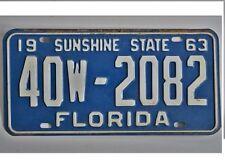 1963 Florida License Plate 40W-2082