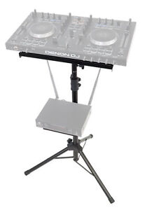 Rockville RLS67 Adjustable DJ Controller Tripod Stand w/ with Dual Trays