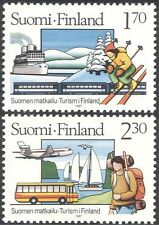 Finlandia 1987 Turismo/Tren/Barco/avión/Bus/Esquí/transporte/deportes 2v Set n24846