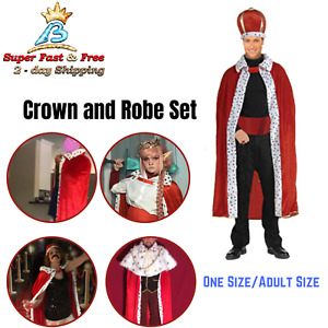 King Robe Crown Set Red Velvet Adult One Size Red Pull On Closure King Costume
