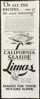 1929 California Seaside Lima Beans Print Ad Savory Scalloped Limas Recipe