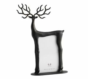 POTTERY BARN Black Aluminum Reindeer Christmas Picture Photo Frame (4 x 6)