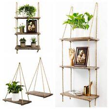 1 2 3 Tier Shelf-Handmade Solid Wood Floating Shelves Rustic Wooden Hanging Rope