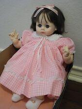 1977 Madame Alexander Pussy Cat Baby Doll Brunette Blue-Eyes Pink Dress #5245