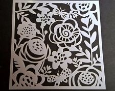 Floral 5x5 Stencil Card Making Scrapbooking Airbrush Painting Home Decor Planner
