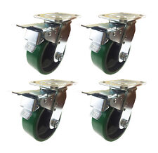 "5"" x 2""  Polyurethane on Cast Iron (Green) - 4 Swivels with Total Lock Brake"