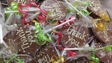 Thank you milk chocolate lolly. Lollipop. Handmade wedding/party favours