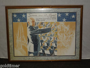 VINTAGE MUSIC CONDUCTOR JOHN PHILIP SOUSA &  HIS BAND LARGE FRAMED POSTER PRINT