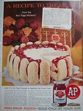 1962 A&P ANN PAGE Strawberry Preserves No Bake Cake Ad