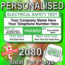 PAT Test Labels Stickers Ideal For Plug Tops 2080 Labels Personalised