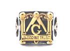 Men Freemason Masonic 18K Gold Signet Ring-In God We Trust-Compass Square Lodge