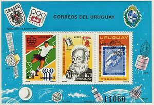 URUGUAY 1976 AIR MAIL SS STAMP Sc. # C423 MNH OLYMPICS TELEPHONE