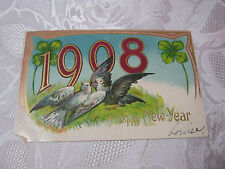 A HAPPY NEW YEAR 1908 ANTIQUE EMBOSSED  POSTCARD GERMANY  WITH BIRDS   T*