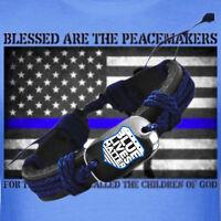 Blue Lives Matter Black Vegan Leather Adjustable Bracelet Thin Blue Line