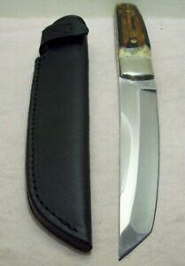 1980~TAYLOR CUTLERY~STAG BONE TANTO~JAPANESE HUNTING & FIGHTING KNIFE w/SHEATH~