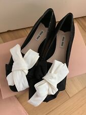 BNIB Authentic Miu Miu Calzature ribbon white bow black ballerina flats 37.5