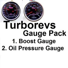 2 SMOKED GAUGES TURBO BOOST OIL PRESSURE VOLTS GAUGE DOUBLE 52MM TWIN PACK