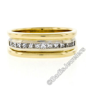 Men's 18K Yellow Gold 0.60ctw Princess Cut Channel Set Diamond Grooved Band Ring